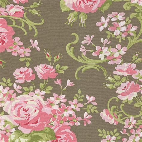 mocha cabbage rose fabric by the yard pink fabric