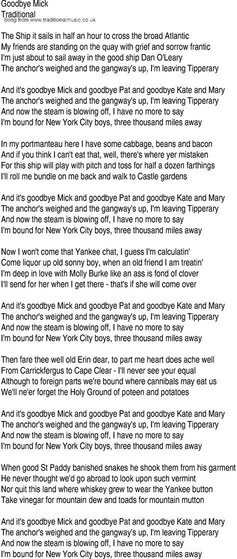 we re a thousand miles from comfort lyrics irish music song and ballad lyrics for goodbye mick