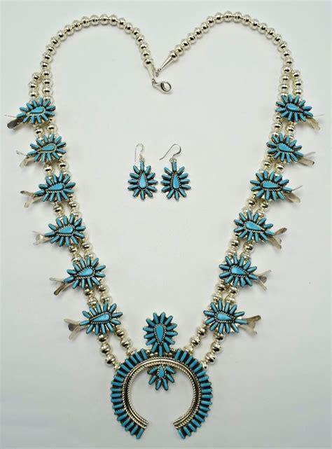 Zuni Squash Blossom Necklace Ebay Zuni Sterling Silver Turquoise Squash Blossom Necklace Evangelina Tsabetsaye Ebay