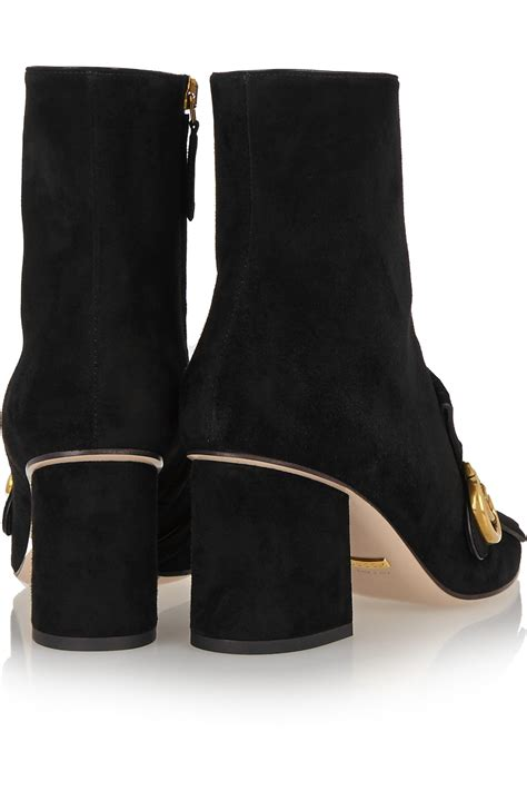 gucci fringed suede ankle boots in black lyst