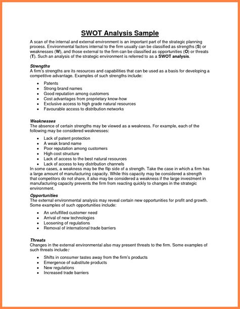 swot analysis sle report 6 sle swot analysis sales report template