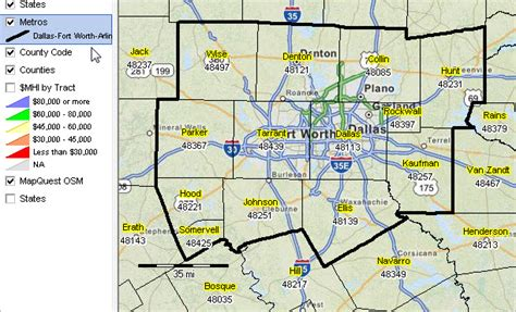 dfw county map dallas tx metro situation outlook decision