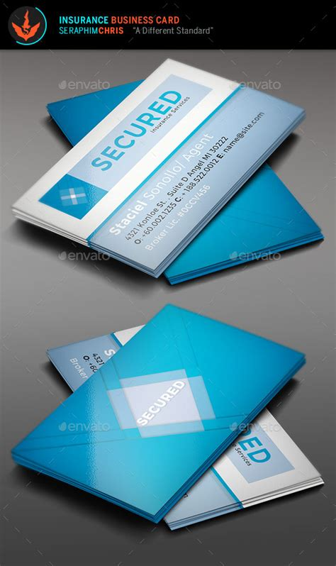 Secured Insurance Business Card Template By Seraphimchris Graphicriver Insurance Business Card Templates