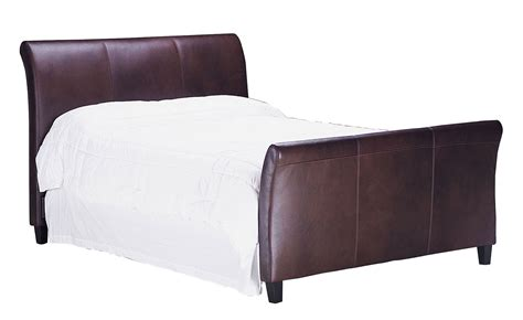 leather sleigh bed with upholstered headboard