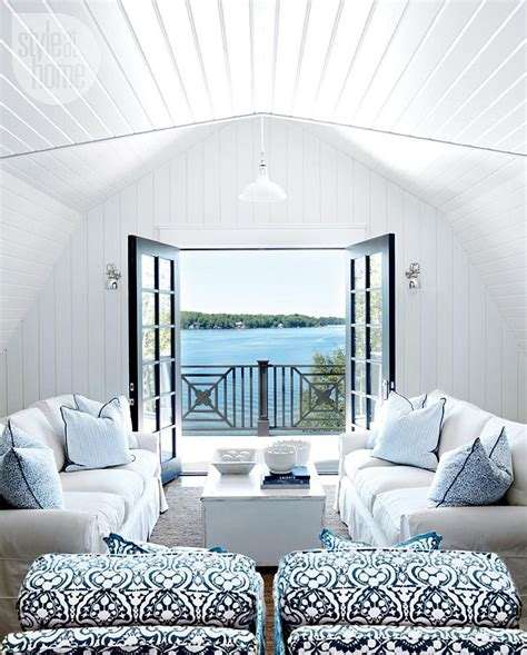 Blue And White Living Room Living Room Design Blue White by Lake Muskoka Cottage With Coastal Interiors Home Bunch