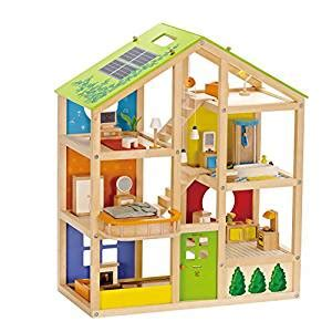 amazon dolls houses amazon com hape all seasons wooden doll house furnished toys games