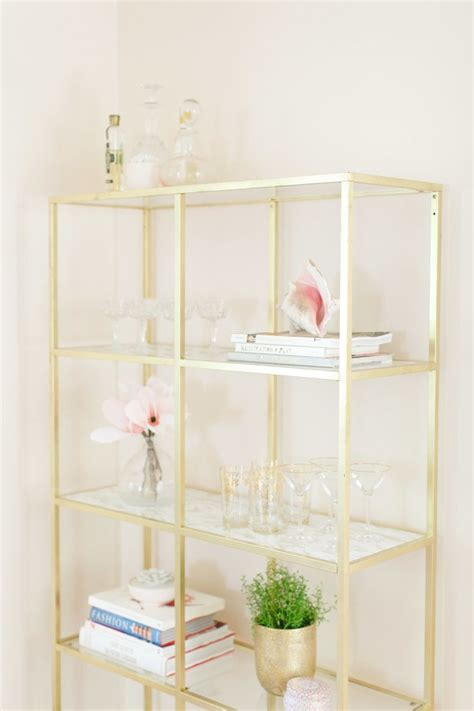 white two shelf bookcase ikea hack gold marble shelves marble shelf gold
