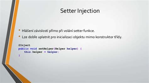 exle of setter dependency injection dependency injection