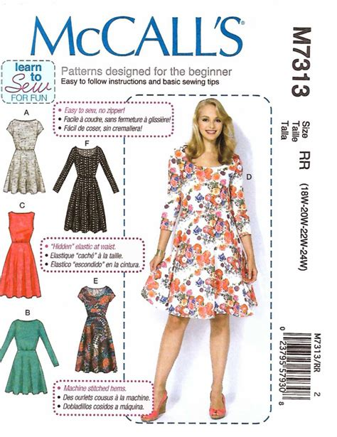Mccall Butterfly Sleeve Dress by Mccall S Sewing Pattern 7313 Womens Plus Sizes 18w 24w