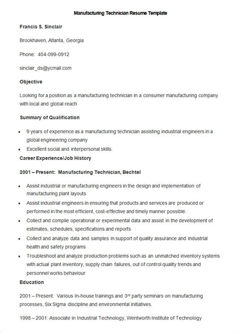 Manufacturing Resume by Manufacturing Resume Template 26 Free Sles Exles