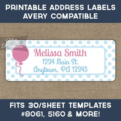 printable address labels avery printable address labels pink balloon avery compatible