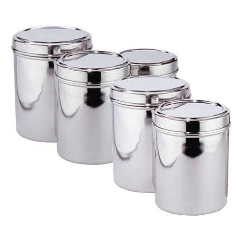 stainless kitchen canisters new easy clean kitchen stainless steel 5 canister set with lid ebay