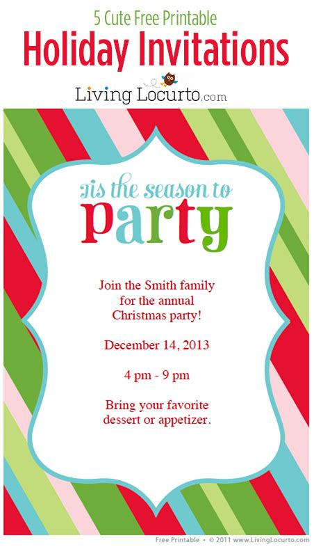 5 free printable holiday party invitations holiday party