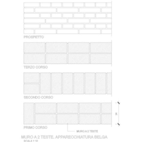 muro a tre teste muratura portante mattoni due teste dwg blocchi