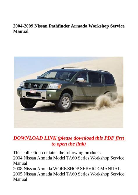service repair manual free download 2009 nissan pathfinder head up display 2004 2009 nissan pathfinder armada workshop service manual by dora tang issuu