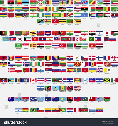 flags of the world order flags world all sovereign states recognized stock vector