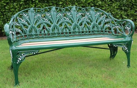 antique wrought iron garden bench antique garden bench in the lily of the valley design
