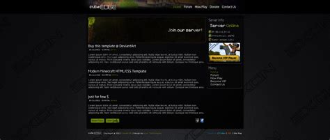 minecraft themes html minecraft template cubeedge for sale by jamiracraft on