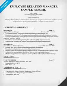 Relations Resume Objective Exles by Employee Relations Resume Objective Statement
