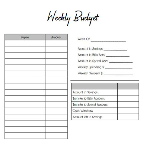 weekly budget template sle weekly budget 7 documents in word pdf excel