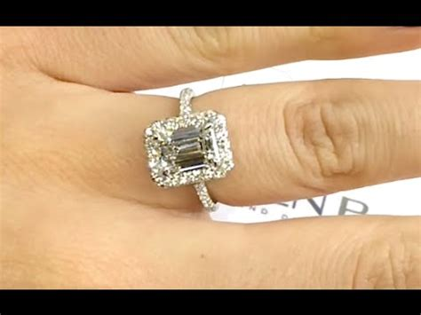 carat emerald cut diamond halo engagement ring youtube