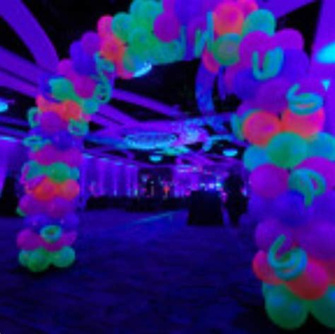 black light party decorations glow in the dark balloon arch glows under black light
