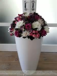 Vase For Flowers Zijden Bloemstuk Groot Paars Rose Wit Elisense Bloemen