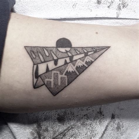 paper plane tattoo simple yet awesome dotwork paper plane by