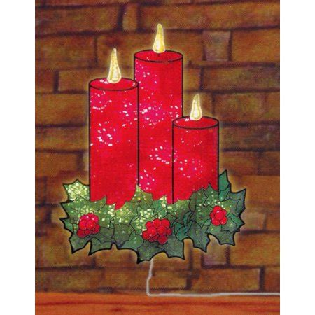 christmas holographic decorations 16 quot lighted holographic candles and window silhouette decoration walmart