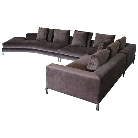 European Home Interiors by Minotti Allen Sectional L Shape Sofa In Taupe Brown