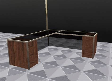second life marketplace glass and wood office desk