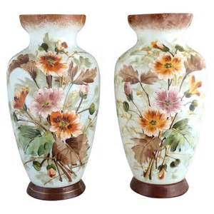 antique bristol glass mantel vases painted