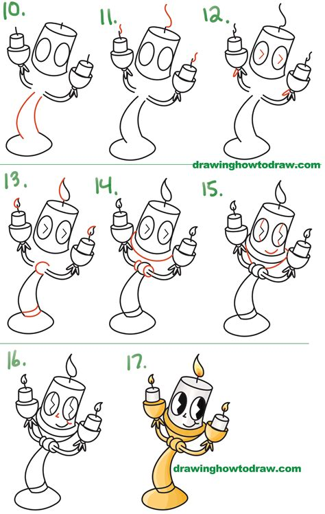 Drawing Step By Step Disney Characters by How To Draw Lumiere Kawaii Chibi From And
