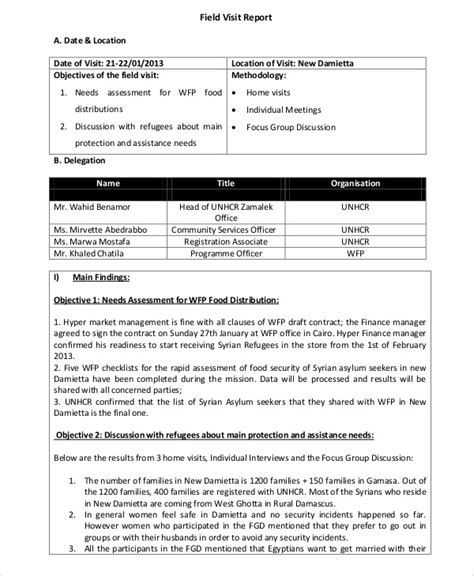 sle of site visit report customer visit report template 28 images 9 visit