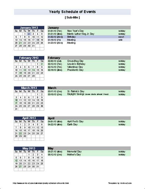 create yearly calendar holidays