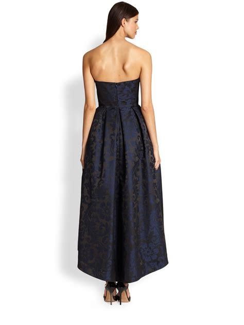 Blue Ruffled Brocade Dress lyst ml lhuillier strapless brocade dress in blue