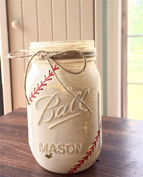 Painted Mason Jars Baseball Mason Jar Party By