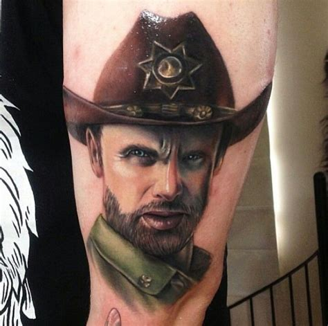 grimes tattoos rick grimes colour realistic tattoos