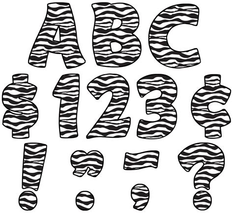 free printable zebra alphabet letters zebra print funtastic 4 quot letters uppercase pack tcr5375