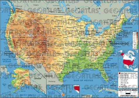 geographical map of the united states of america geoatlas countries united states of america map city