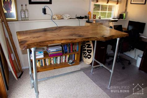 live edge computer desk 37 diy standing desks built with pipe and kee kl