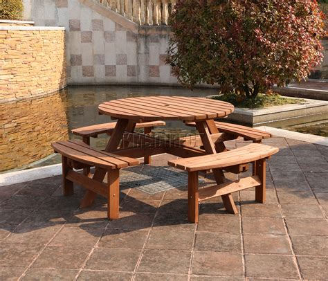 table patio ronde westwood 8 place en bois pub banc rond table pique meubles