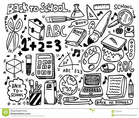 doodle school free doodle school stock vector illustration of math