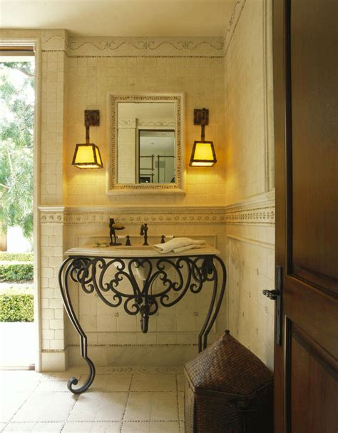 Wrought Iron Bathroom Vanities by Wrought Iron Vanity Bathroom Traditional With Brick Floor