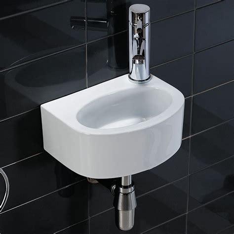 small basin white high gloss small cloakroom wall mounted wash basin