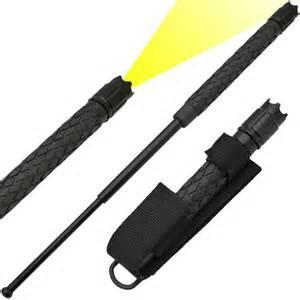 Baton To Expandable Solid Steel Baton Flashlight W Holster 16