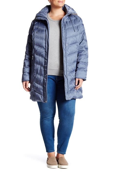 Quilted Plus Size Coats by Kenneth Cole New York Faux Fur Trim Quilted Coat Plus