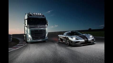 volvo trucks volvo trucks  koenigsegg  race   volvo fh   koenigsegg