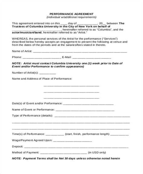 performance agreement template performance agreement contract guidelines for work