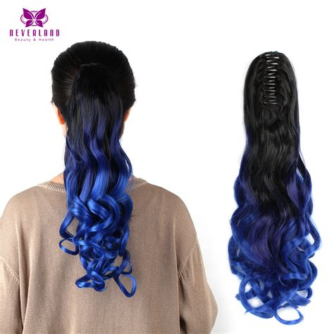 Hairclip Ombreponytailwig wavy curly 50 55cm pony claw hair clip on hair extensions synthetic hair ombre color three